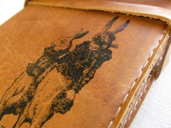 Leather Journal - Leather Sketchbook Cover - Personalize - Monogram - Rabbits