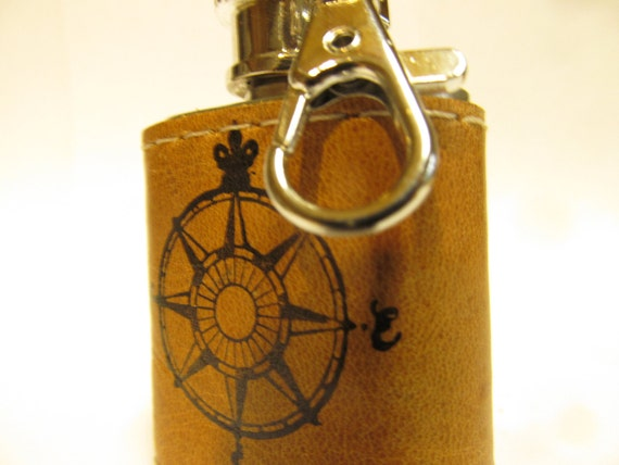 leather handprinted small flask custom initials compass