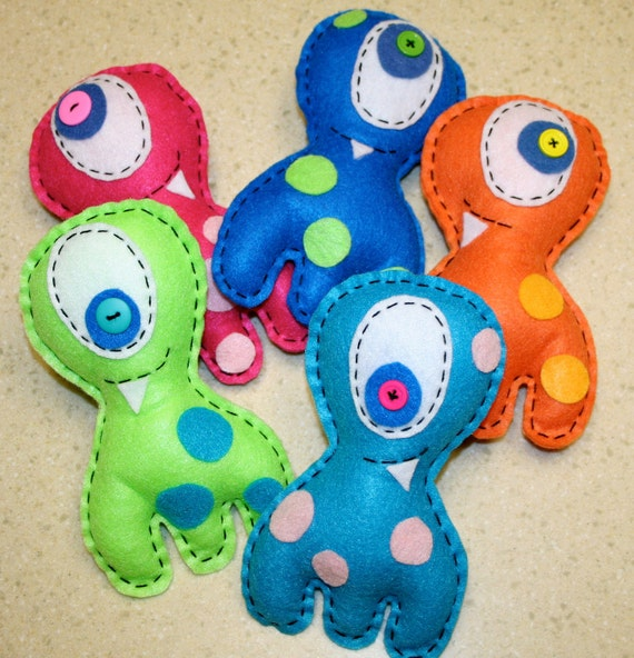 Group of 5 multi-leggedy mini monster plush party favors made from recycled felt in bright colors - made to order