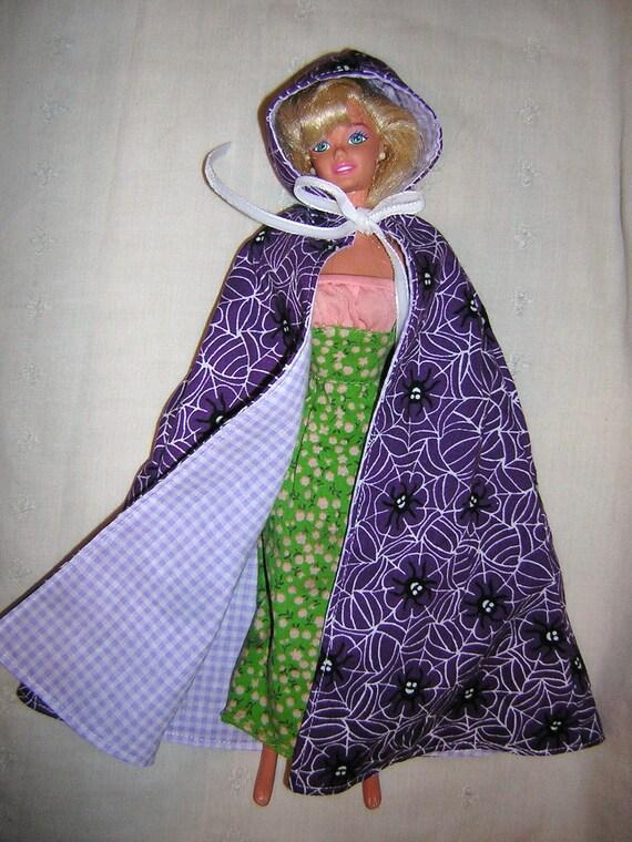 Barbie Hooded Cloak, Barbie Hooded Cape, Reversible, spiders and gingham