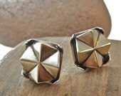 Geometric edgy stud earrings in bronze and sterling