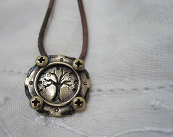 Gear and Tree necklace in bronze on cord