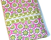 Fully Loaded Travel Notepad Organizer - Rose and Lime Kaleidoscope dots - Amy Butler daisy chain - coloring book - color pencil/crayon