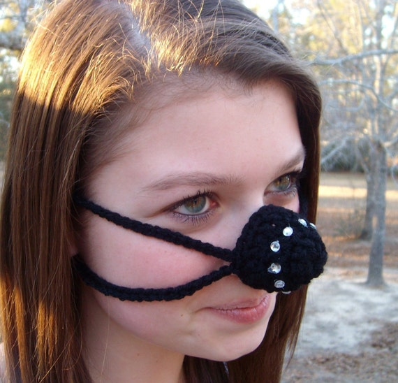 Black Bling Nose Warmer, Teen, Tween, Woman, Nose Cozy, Crocheted, Cold Nose, Adult