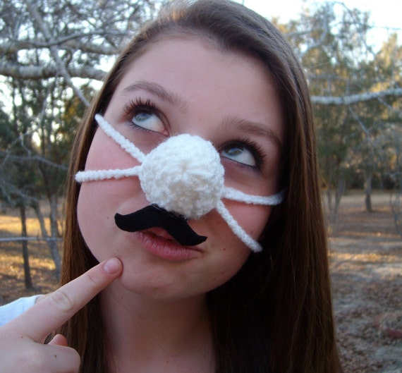 Fun Mustache Nose Warmer, Nose Cozy, Crochet, Tween, Teen, Adult ...