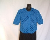 Crocheted cardigan, blue color, short sleeves, 100% cotton very thin, without buttons