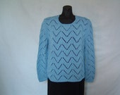 Blue Sweater, Knitting, Blue Waves, Woman, 100% Cotton