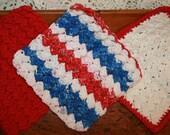 Americana Cotton Hand-Crochet  Washcloths/Dishcloths Set of 3