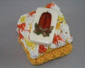 Crocheted Candy Corn Washcloths Dishcloths and Pumpkin Soap