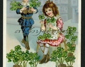 Vintage New Year Postcard with Children