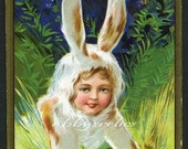 Vintage Easter Postcard - Child in Rabbit Costume