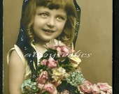 Vintage Real Photo Postcard - Girl with Big Bouquet of Flowers