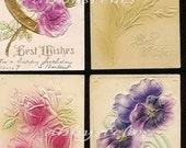 Lot of 4 Heavily Embossed Floral Vintage Postcards  Lot 124