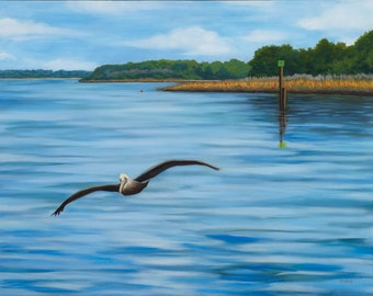 Pelican in Flight -giclee print on canvas