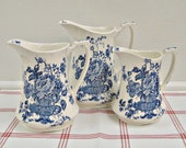 Trio of Pitchers...blue english ironstone staffordshire meakin