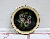 Flowers on Velvet ...vintage framed embrodiery