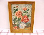 Roses in Vase ...vintage paint by number