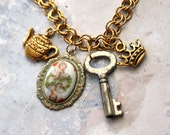 Tea Party Necklace - Queen of Hearts Alice in Wonderland Gold Charm Kawaii