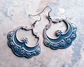 Pirate Queen Blue Dream Hoop Earrings - Gypsy Tribal Neo Victorian Pastel Pink Fall Fashion
