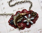 Steampunk SwordFish Necklace - Steampunk Nautical Enamel Flower Red Neo Victorian Silver Pirate Dreampunk