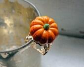 Halloween Pumpkin Ring - Orange Pumpkin with Silver Adjustable Band - Fall Harvest Halloween