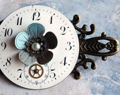 Snow Berry Steampunk Brooch - Vintage Pocket Watch Blue Enamel Flower Antiqued Brass Dreampunk Collage