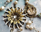Swan Flower Necklace - Swan and Vintage Enamel Flower with Faux Pearl Chain - White and Yellow