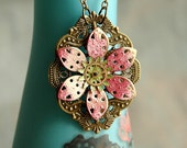 Primrose Flower Steampunk Necklace - Watch Gear Pink Green Enamel Antiqued Brass Floral Dreampunk