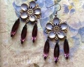 Lavender Flower Fairy Earrings with Vintage Purple Crystal Navettes