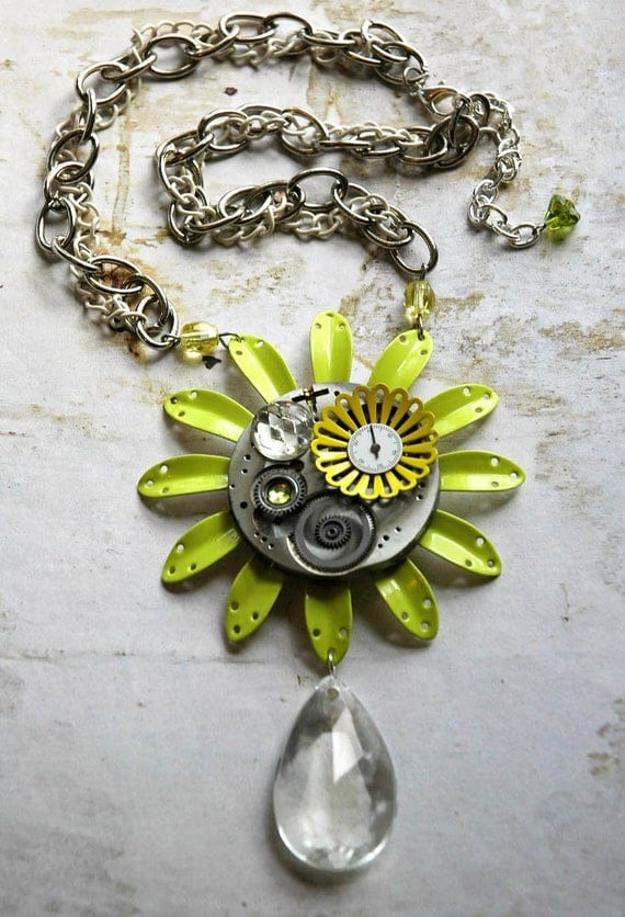 Reserved for Katrine - Steampunk Necklace - Steampunk Neon Vintage Enamel Flower and Silver Clock with Watch Gear Lime Green Dreampunk