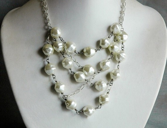 Deconstructed Pearl Statement Bib Necklace - Elegant Multi Strand White Vintage Faux Pearl Beads