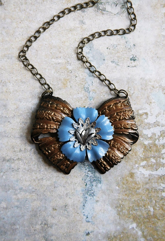 Steampunk Necklace - Steampunk Brass Bow and Enamel Flowers with Antiqued Silver Heart - Romantic Dreampunk