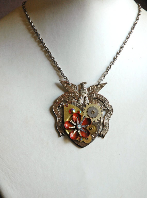 Steampunk Necklace - Steampunk Military Necklace with Watch Gears and Enamel Flowers - Steampunk Militia