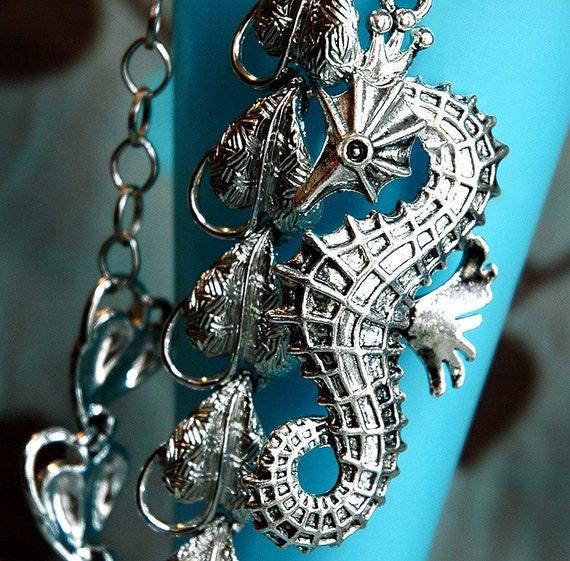 Silver Kelp Forest - Vintage Aquatic Statement Necklace