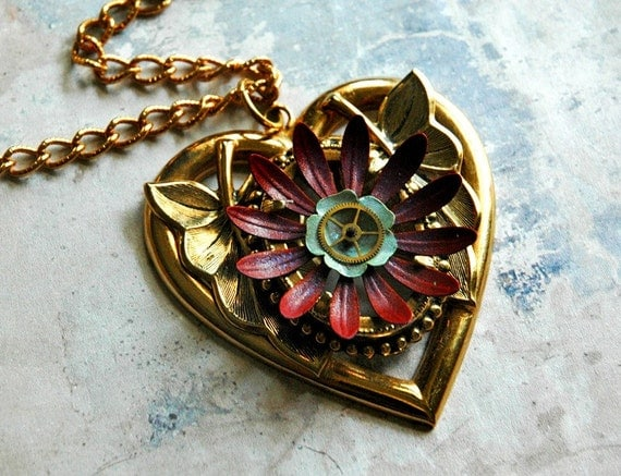 Tuscany Dusk - Vintage Deep Purple Wine and Pale Blue Enamel Flower Steampunk Heart Pendant Necklace by Bionic Unicorn