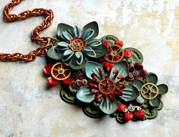 Utopian Bloom - Vintage Bioshock Inspired Steampunk Necklace with Enamel Flowers and Gears - FREE SHIPPING