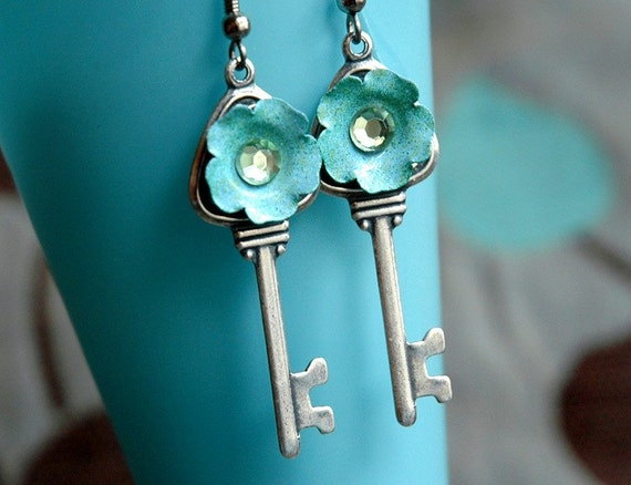 Shabby Chic Earrings - Enamel Flower and Key Silver Neo Victorian Soft