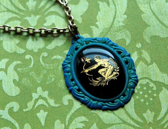 Sagittarius Necklace - West German Glass Zodiac Astrology