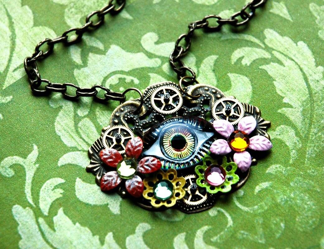 eye of medusa steampunk necklace watch gears enamel flower
