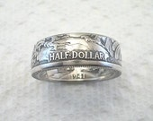 Sizes 8 - 14 Coin Ring, Walking Liberty  Silver Half Dollar, REVERSED, Crevice Toned Finish, Place Your Custom Order Here,