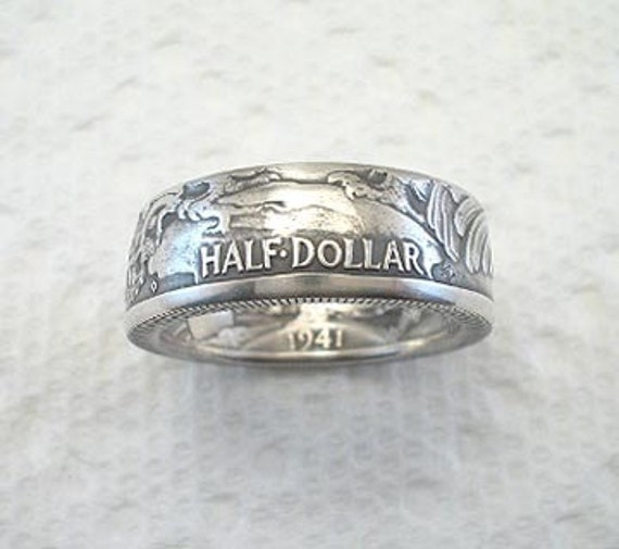 Coin Ring, Walking Liberty  Silver Half Dollar, REVERSED, Crevice Toned Finish, Place Your Custom Order Here, sizes 8 - 14