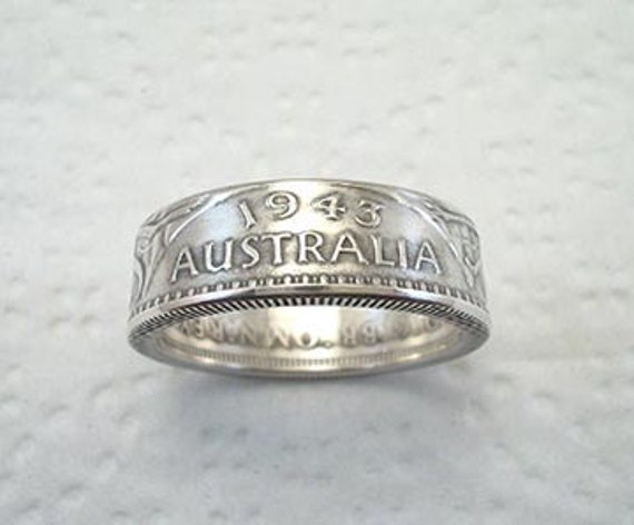 Sizes 7 - 11 1/2. Coin Ring. Australia Sterling Silver Florin.  Place Your Custom Order Here.