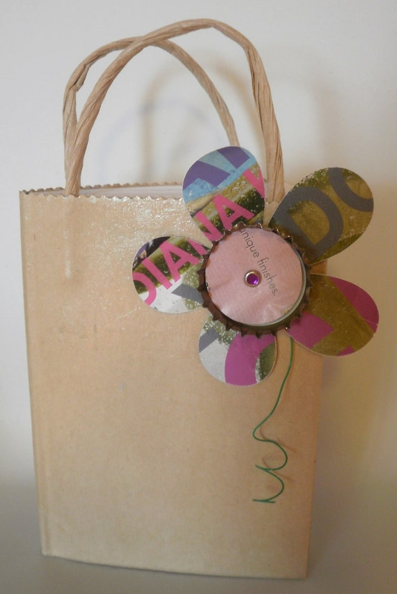 Handmade Bottlecap Flower Bag Book