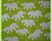 Ikea fabric Barnslig lime white Hippos full 3 yd