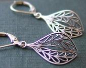 Filigree Charm Earrings - Silver