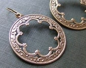 Filigree and Flower Brass Medallion Earrings