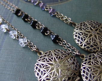 Beaded Filigree Locket Long Necklace