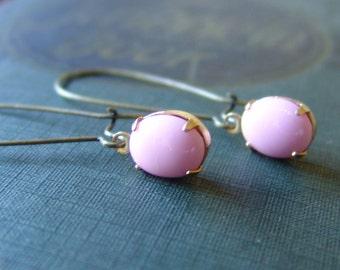 Pink Glass Rhinestone Dangle Earrings