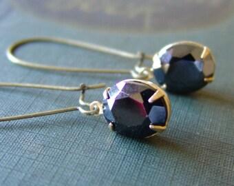 Black Glass Oval Rhinestone Earrings