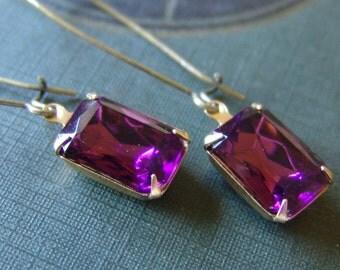 Purple Glass Rhinestone Dangle Earrings